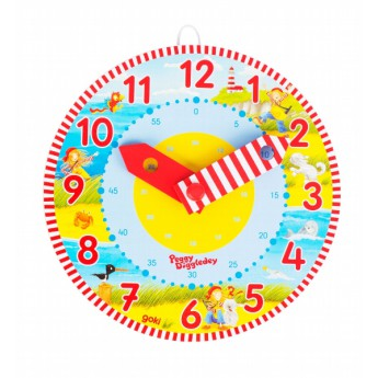 Dřevěné výukové hodiny – Peggy Diggledey, 18 cm