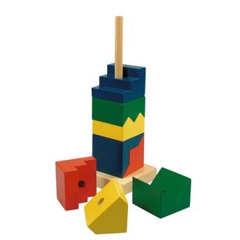 Motorické a didaktické hračky - Skládací věž barevná