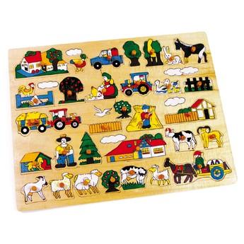 Dřevěné vkládací puzzle Maxi Farma