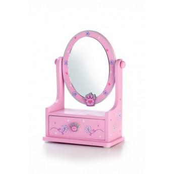 Zrcadlo šperkovnice zásuvka - růžová korunka