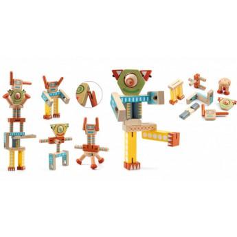 Djeco Pohybliví dřevění Roboti