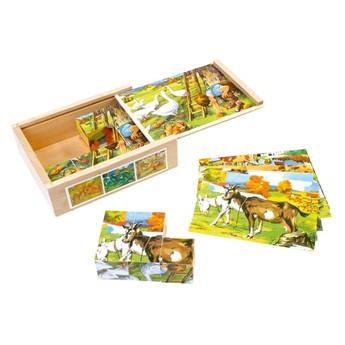 Kostky a stavebnice - Obrázkové kostky Domácí zvířata 12 ks