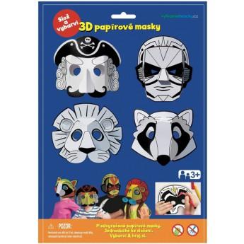 3D papírová maska pirát, superhrdina, lev, mýval