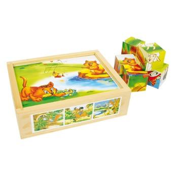 Kostky a stavebnice - Obrázkové kostky Veselá zvířata 12 kostek
