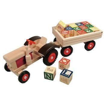 Pro kluky - Traktor s gumovými koly a vlečkou ABC