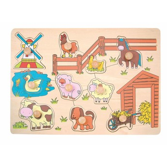 Puzzle - Puzzle na desce Domácí zvířata u mlýna