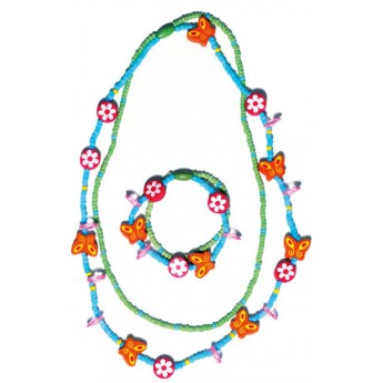 Souprava dvojitý náhrdelník a náramek - Motýlci a květiny