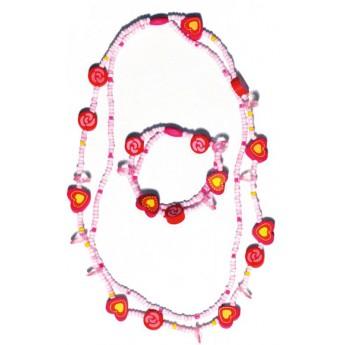 Souprava dvojitý náhrdelník a náramek - Srdíčka a kolečka