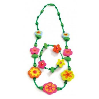 Souprava náhrdelník a náramek - Zelený s květinami