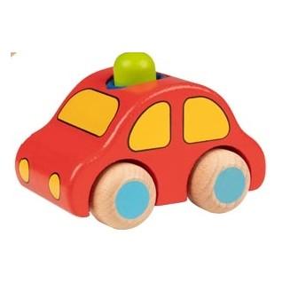 Dřevěné autíčko s houkačkou - zelený maják