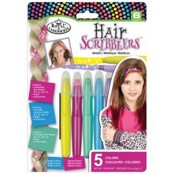 Křídové pastely na vlasy, 5 ks, metalické barvy