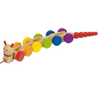 Pro nejmenší - Dřevěná tahací hračka – Housenka Nila