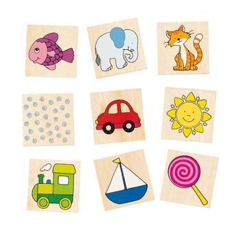 Hry a hlavolamy - Dřevěné pexeso s obrázky v krabičce