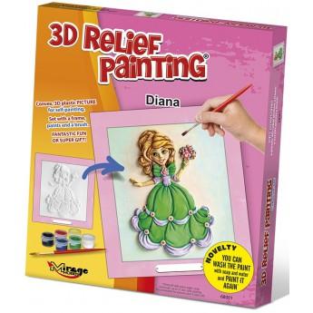 3D reliéfní obrázek Princezna - Diana