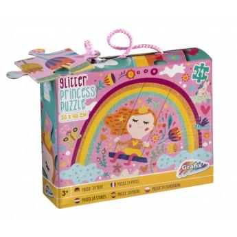 Třpytivé puzzle 24 dílků - princezna