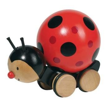 Pro nejmenší - Dřevěná hračka beruška s točící se kuličkou