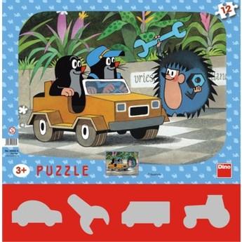 Puzzle - Krteček a autíčko 12 dílků