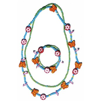 Pro holky - Náhrdelník a náramek - Motýlci a květiny modrý