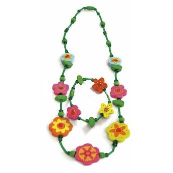 Pro holky - Náhrdelník a náramek -Zelený s květinamii