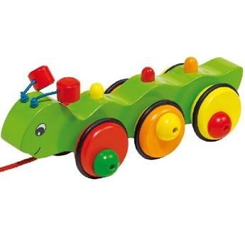 Pro nejmenší - Dřevěná tahací hračka – Housenka Wilma