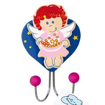 Dětský pokojíček - Dřevěný věšák anděl s hvězdičkami