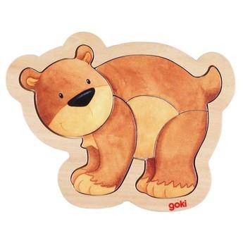 Puzzle - Dřevěné puzzle v rámečku – Medvídek