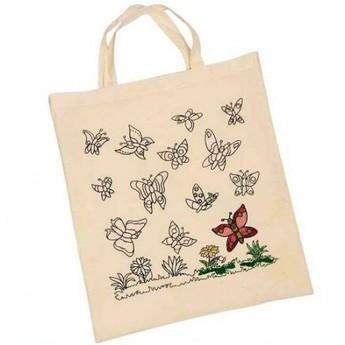 Výtvarné a kreativní hračky - Bavlněná taška k vymalování – Motýli