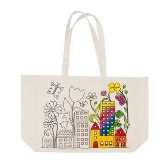 Výtvarné a kreativní hračky - Bavlněná taška k vymalování – Květinové město