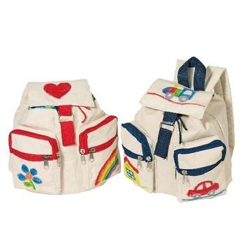 Výtvarné a kreativní hračky - Bavlněný batoh k vymalování – Modrý