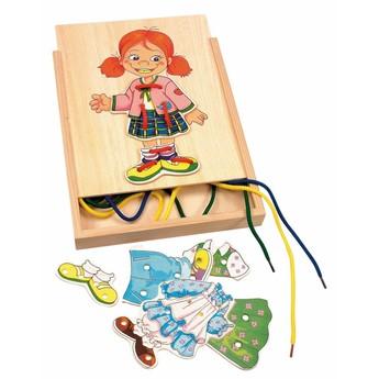 Motorické a didaktické hračky - Šněrovací šatní skříň - Holčička