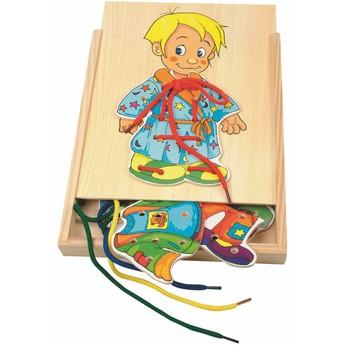 Motorické a didaktické hračky - Šněrovací šatní skříň - Chlapeček