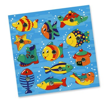 Motorické a didaktické hračky - Rybičky ve vodě, magnetická hra, s udičkou