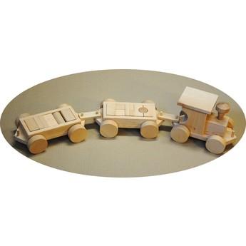 Pro kluky - Dřevěný vláček se dvěma vagóny