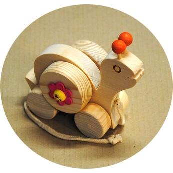 Dřevěná tahací hračka – Šnek