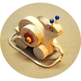Dřevěná tahací hračka – Šnek s tykadly