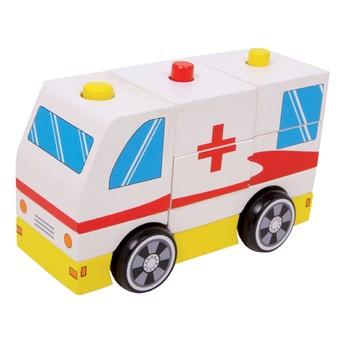 Pro kluky - Dřevěné autíčko - ambulance