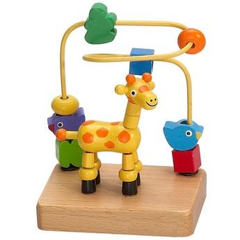 Motorické a didaktické hračky - Labyrint Žirafa - natural