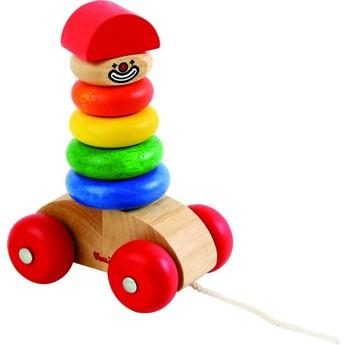 Motorické a didaktické hračky - Klaun na provázku - nasazovací kroužky