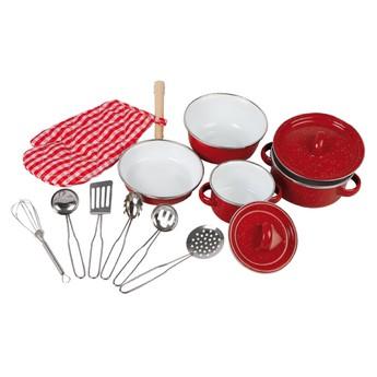 Sada smaltovaného nádobí - červená
