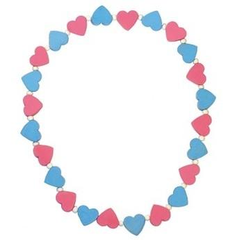 Pro holky - Dětský náhrdelník s růžovými a modrými srdíčky