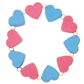 Pro holky - Dětský náramek s růžovými a modrými srdíčky