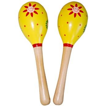 Dětské hudební nástroje - Dřevěné marakasy - žluté