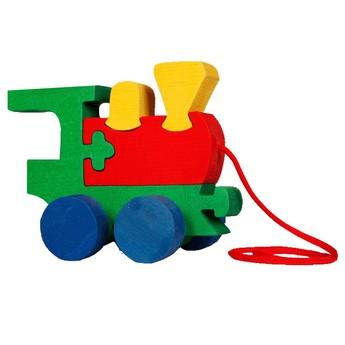 Dřevěná tahací hračka z masivu - Mašinka