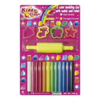 Výtvarné a kreativní hračky - Modelovací hmota 12 barev + tvořítka a váleček