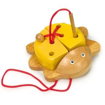 Motorické a didaktické hračky - Provlékací brouček - žlutý