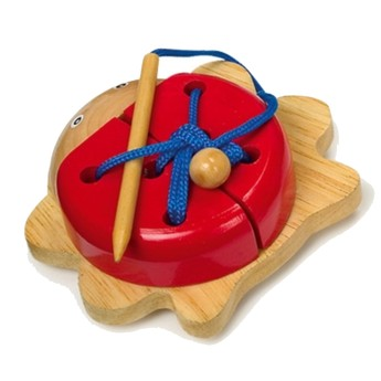 Motorické a didaktické hračky - Provlékací brouček - červený