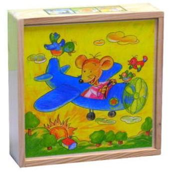 Kostky a stavebnice - Dřevěné kostky Myška 4 x 4