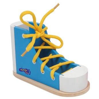 Motorické a didaktické hračky - Provlékací bota modrá