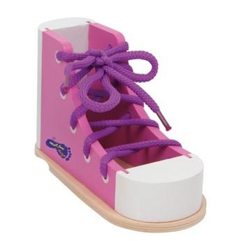 Motorické a didaktické hračky - Provlékací bota růžová