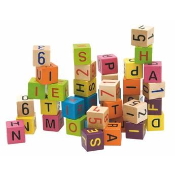 Kostky a stavebnice - Barevné kostky s písmeny a čísly 40 ks